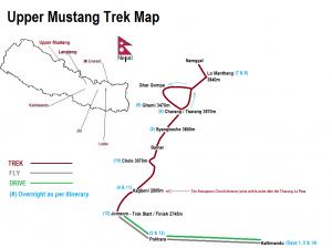 Upper Mustang Trek Map